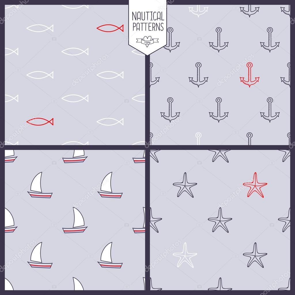 Navy vector seamless patterns set: anchor, starfish, fish, ship.