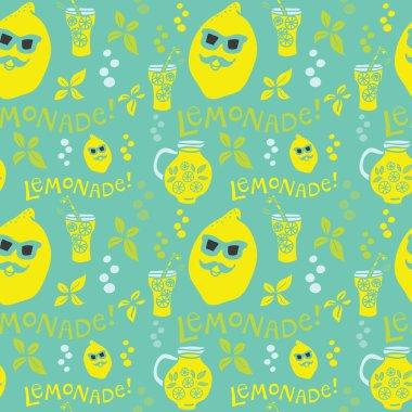 Vector seamless lemonade pattern