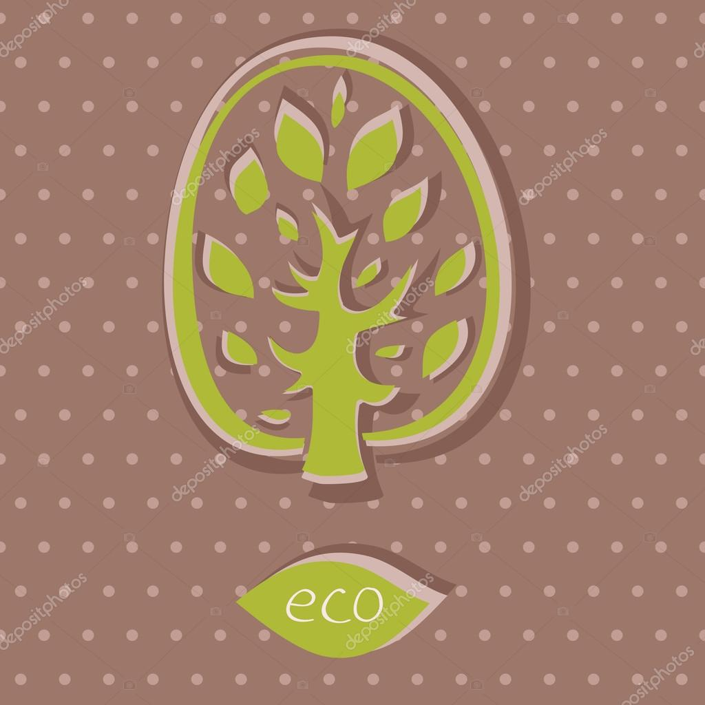 Eco card on polka dot background