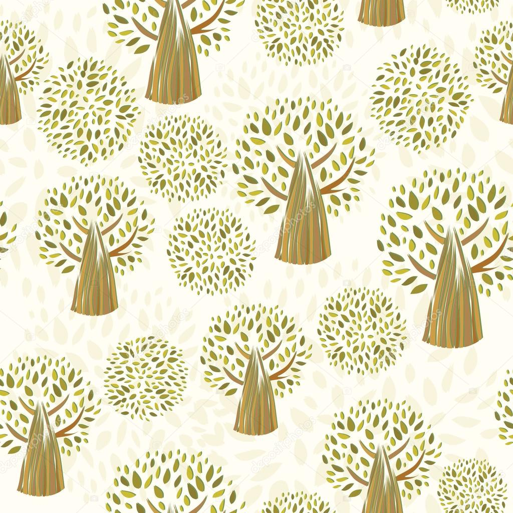 Abstract seamless green forest pattern