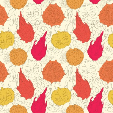 Vector abstract pattern with exotic fruits