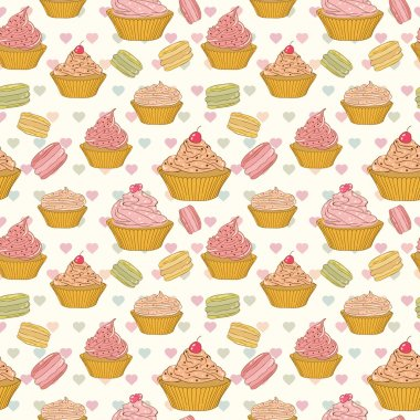 Cupcakes and macaroons seamless pattern