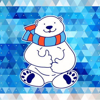 Vector card design with white bear on the blue triangle background.