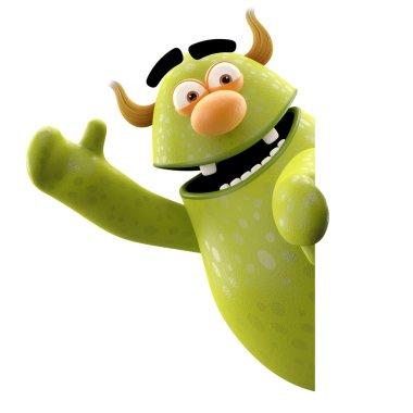 Green monster waving hands