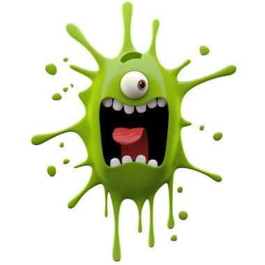 Glaring green one-eyed monster
