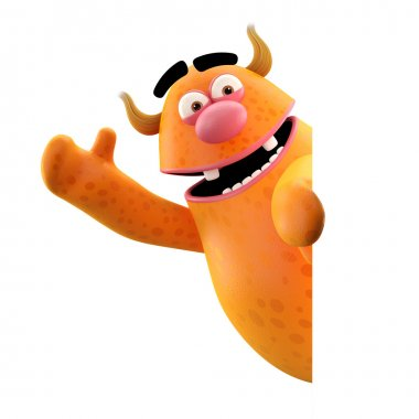 Orange monster waving hands