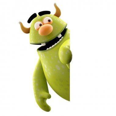 Green peeking monster
