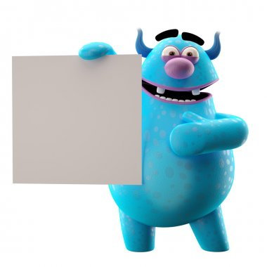 Blue monster with white paper