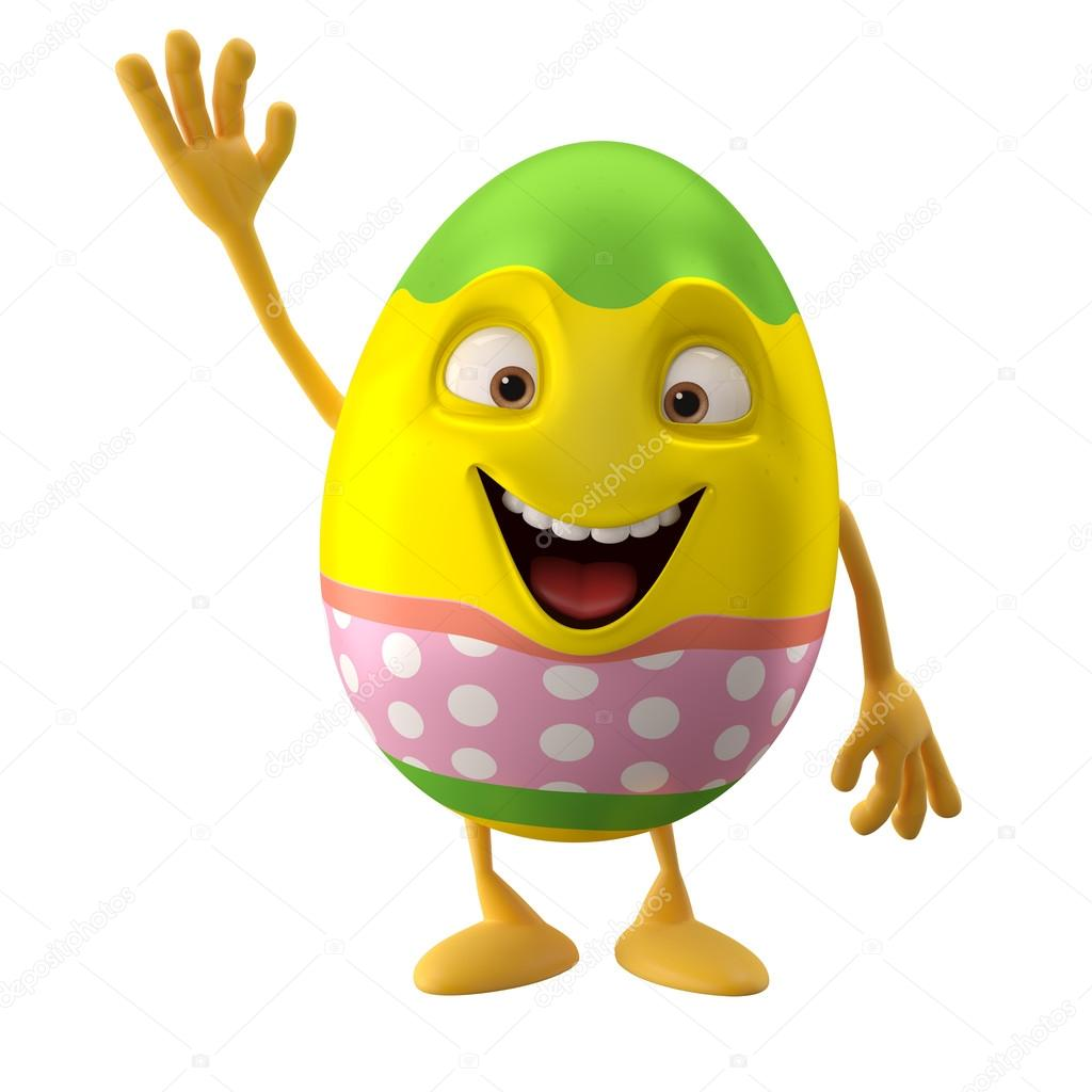 Smiling Easter egg with hand up