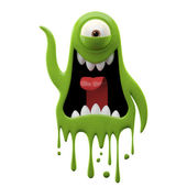 Photo One-eyed glaring green monster