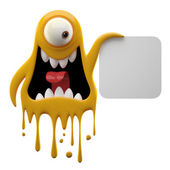 Photo Yelling yellow monster holding board