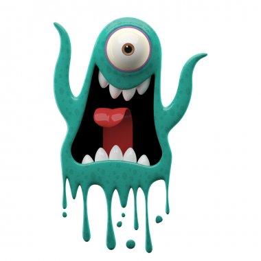 One-eyed yelling cyan monster
