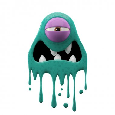 One-eyed tired cyan monster