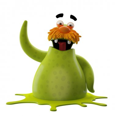 Green walrus with one hand up