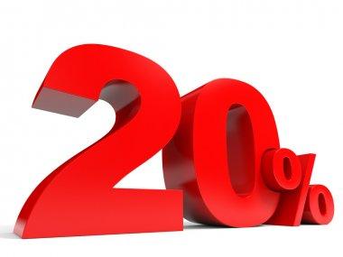 Red twenty percent off. Discount 20 percent.