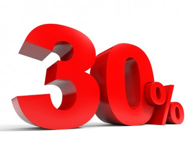 Red thirty percent off. Discount 30 percent.