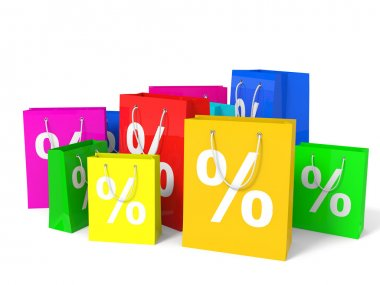 Shopping bags with percent sign.