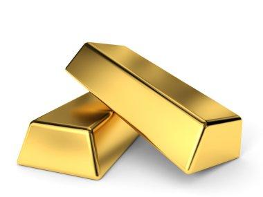 Gold bars on white background. 3D illustration. stock vector