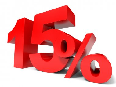 Red fifteen percent off. Discount 15 percent.