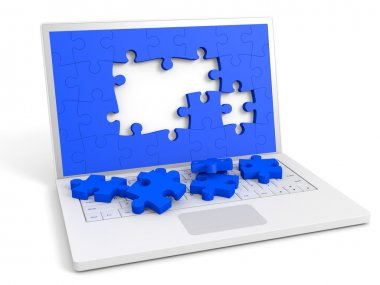 Laptop with puzzle pieces into the screen.