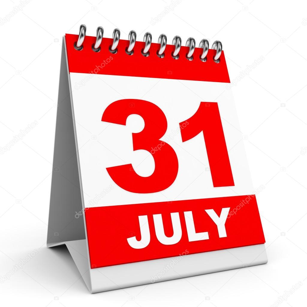 Calendario 31 Luglio.Calendario 31 Luglio Foto Stock C Icreative3d 49040643
