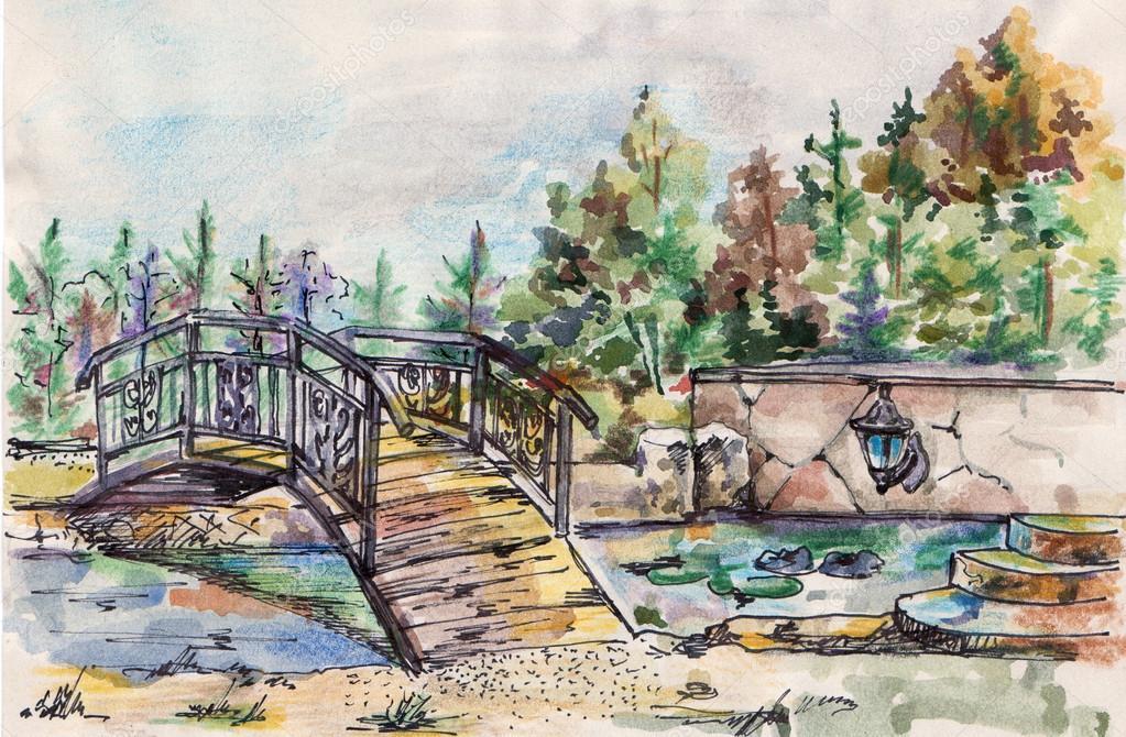 Watercolor landscape with bridge over the river