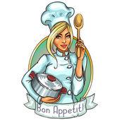 krásné šéfkuchař s hrnci a lžíce