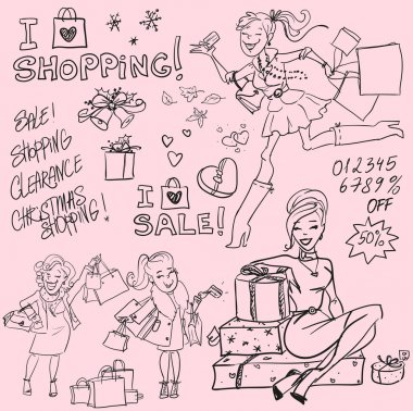Hand drawn women with shopping bags and present boxes, Shopping doodles, sketch clip art vector