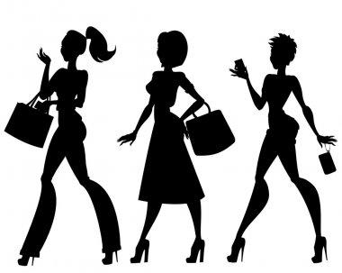 Women with handbags, phone