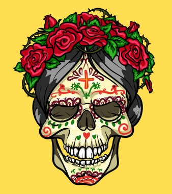 Skull with roses, Day of the Dead