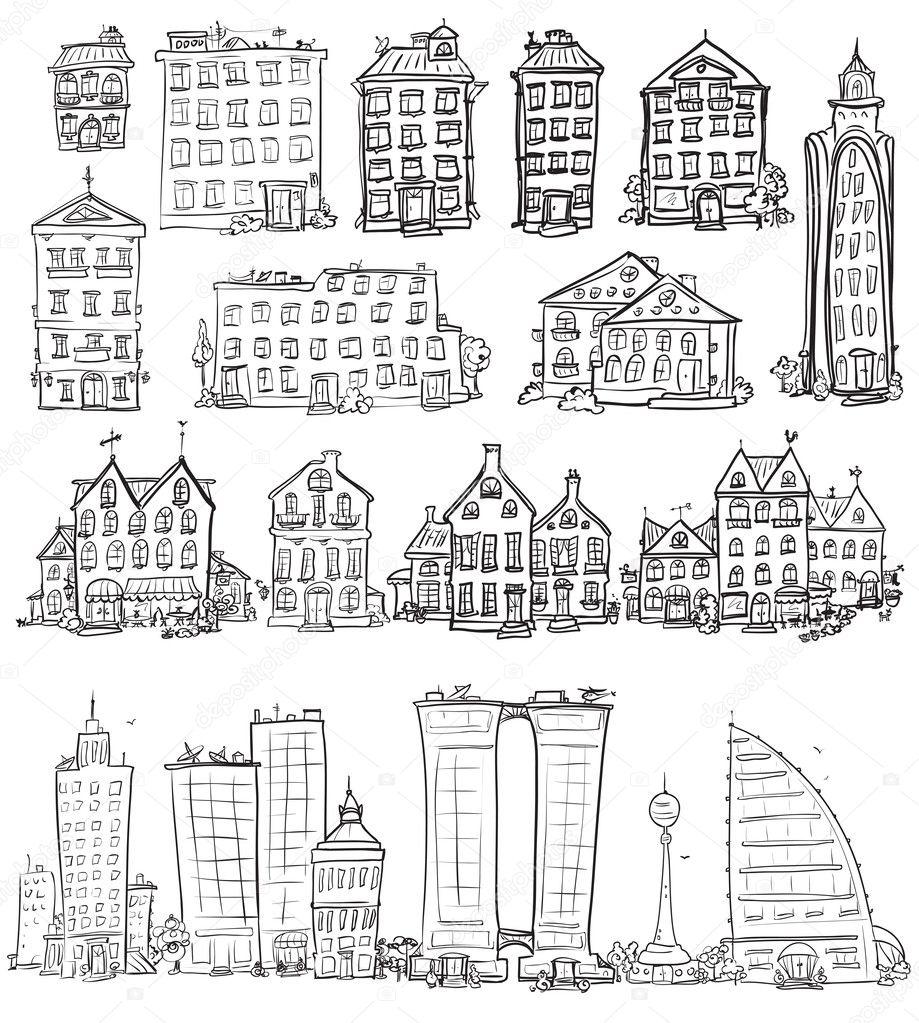 City doodles set
