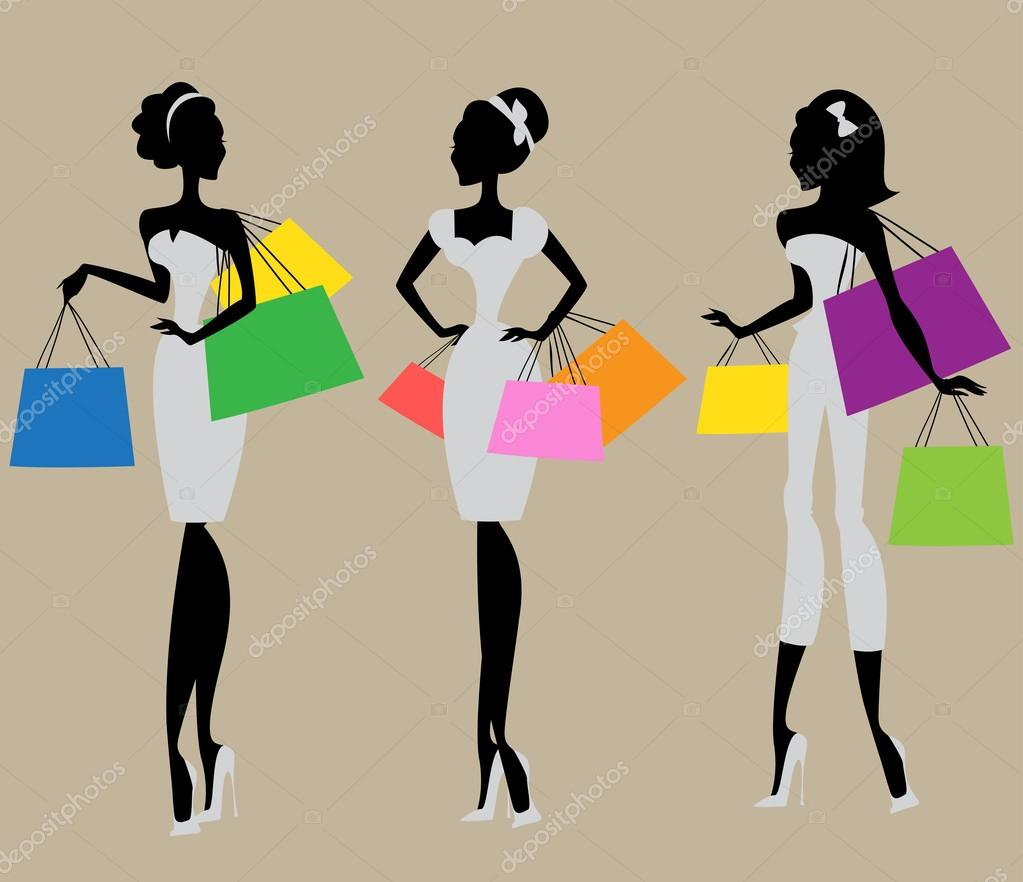 4c182aacf1f Silhouettes of women with shopping bags — Stock Vector ...