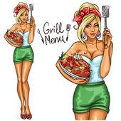 Žena držící maso deska