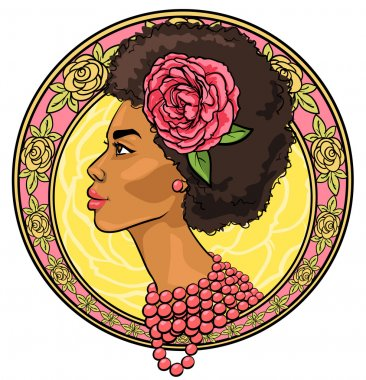 African woman in floral border