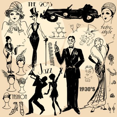 Retro women and men of twenties