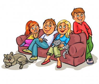 Family members on sofa