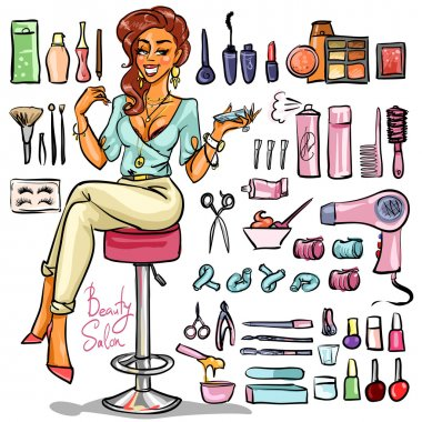 Beauty Salon, Cartoon sexy woman with beauty supplies around. Hand drawn set clip art vector