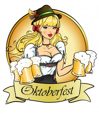 Girl with beer, Oktoberfest logo