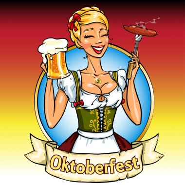 Bavarian girl with beer and smoking sausage, Oktoberfest label