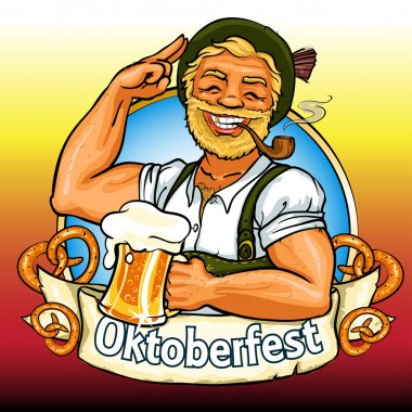 Bavarian man with beer and smoking pipe, Oktoberfest label