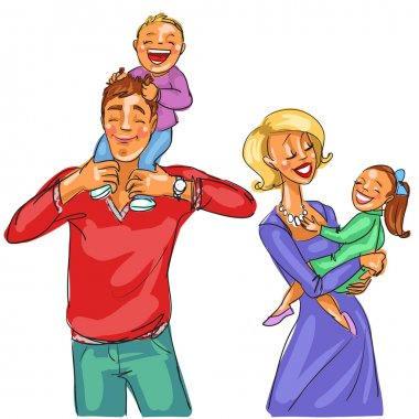 Happy family with kids.