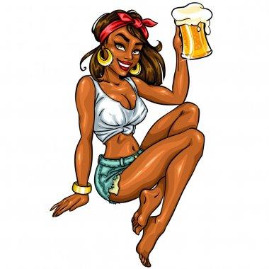 Pin Up Girl with beer mug