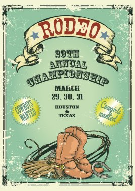 Retro style Rodeo Championship poster with cowboy stuff