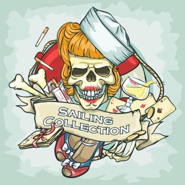 Pin Up Girl skull logo
