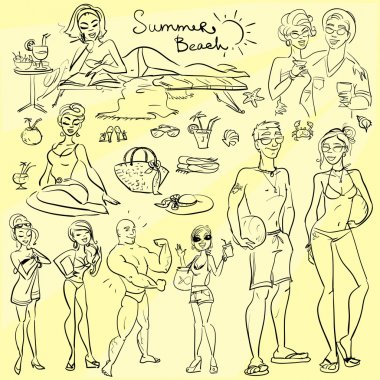 Beach people, summer doodles