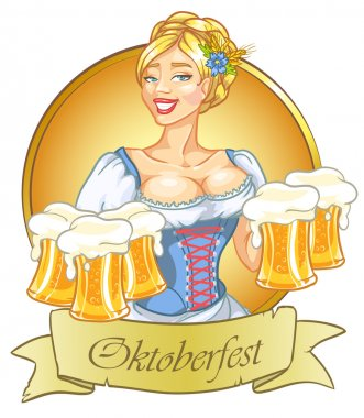 Oktoberfest girl with beer