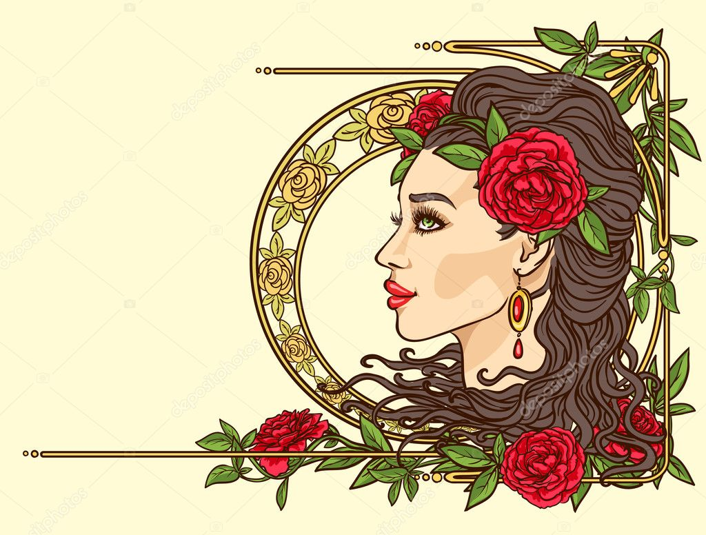 Woman with flowers in hair stock vector nataliahubbert 43415091 beautiful woman with flowers in hair art nouveau stylized female face vintage floral border vector by nataliahubbert dhlflorist Gallery