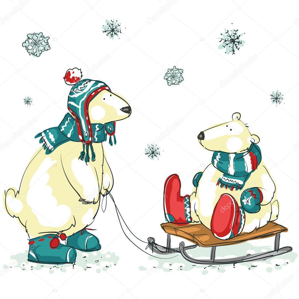 Polar bears, Christmas — Stock Vector © nataliahubbert #43415941