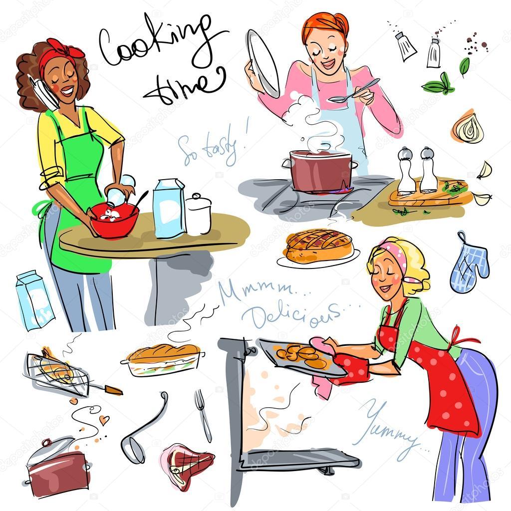 Frauen In Kuche Kochen Stockvektor C Nataliahubbert 43416099