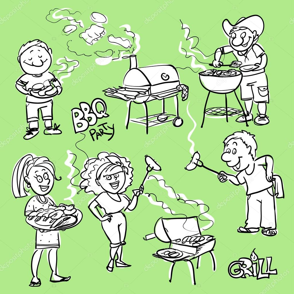 BBQ party doodles